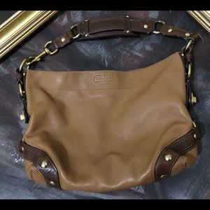 Coach Leather Edgy Gold Turn Lock Shoulder Bag